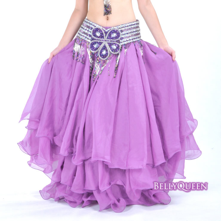light purple chiffon belly dance skirt