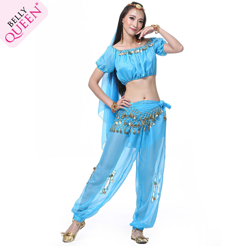 5 Pieces Dancewear Chiffon Indian Belly Dance Costumes For Ladie