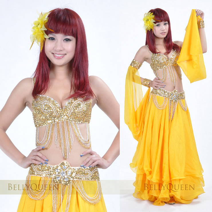 Sparkling gold belly dance costume
