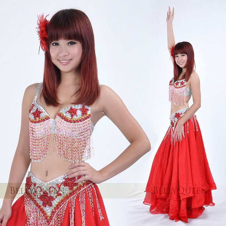 Sparkling professional silver.red belly dance costume