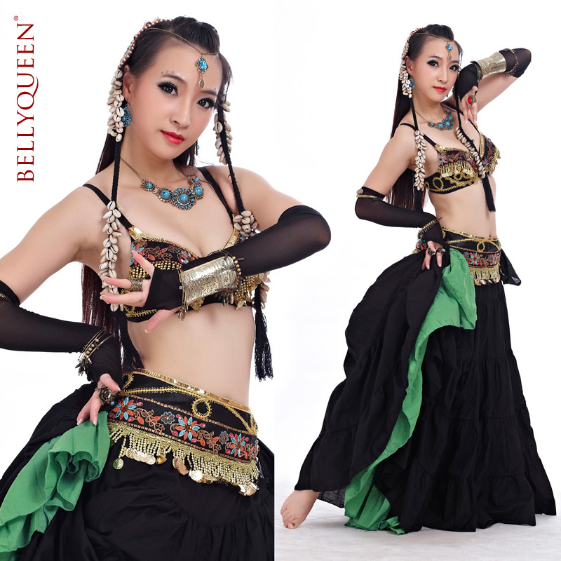 black.gold belly dancing costumes