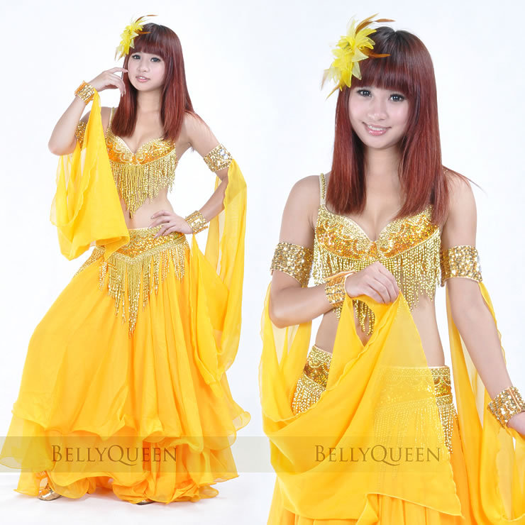 sparkling gold belly dancing costumes 8271745916-gold