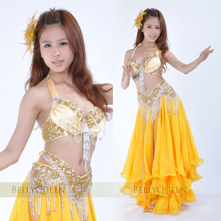 Sparkling gold belly dancing costumes