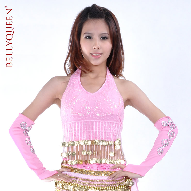 Dancing tops polyester with coins belly dance tops