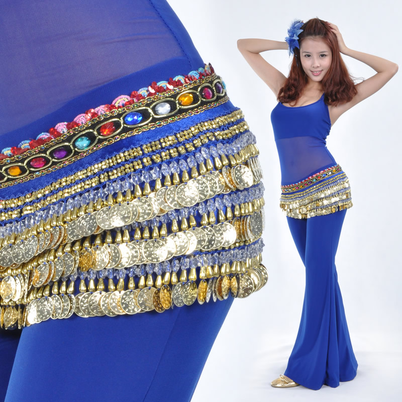 Belly dance gold coins hip scarf