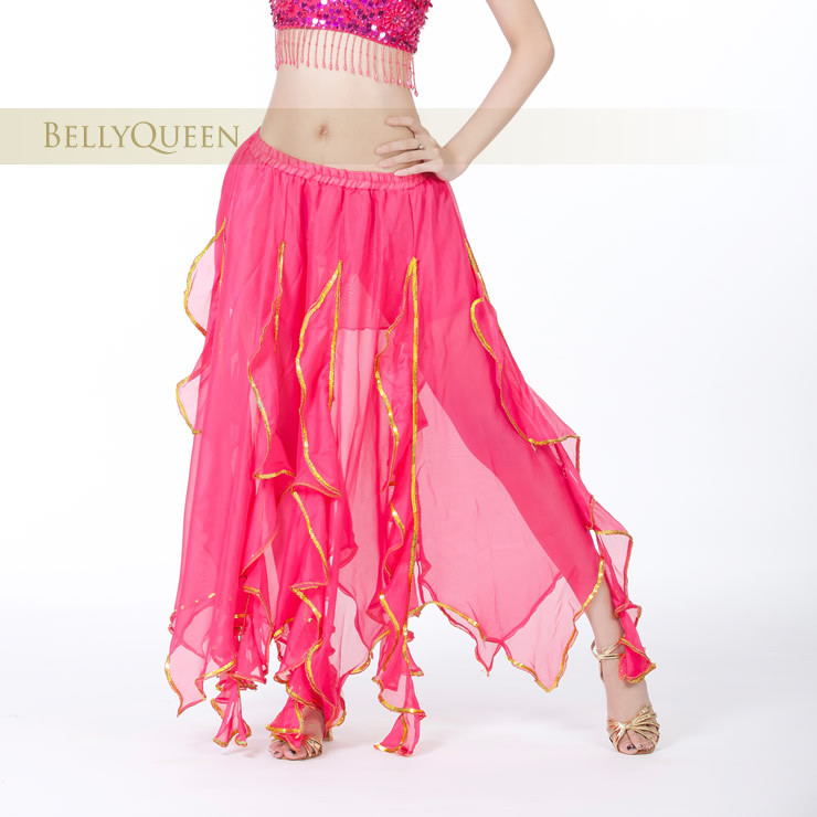 fuchsia chiffon belly dance skirt