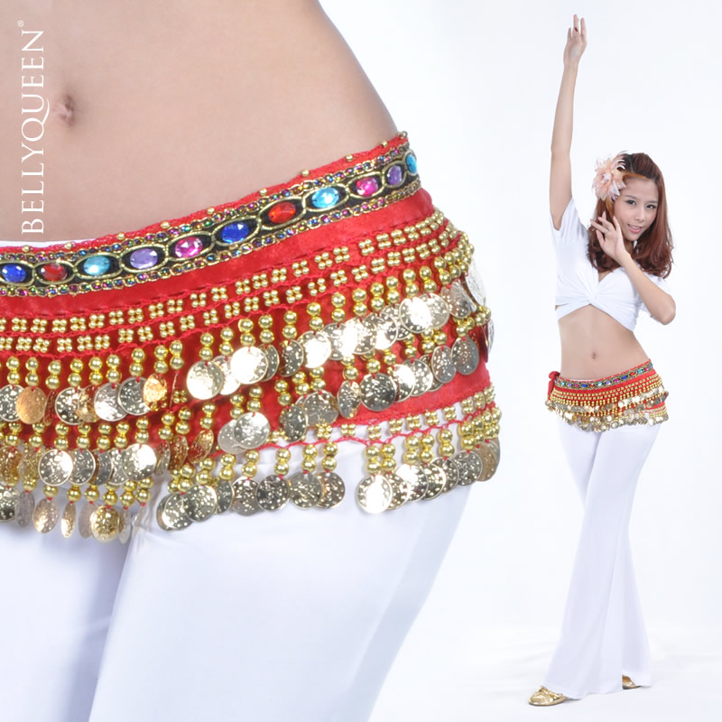 Belly dance hip scarf With Gold Coins