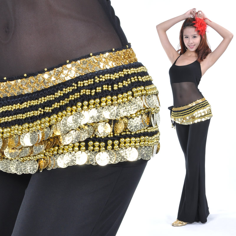 Velvet belly dance gold coins hip scarf