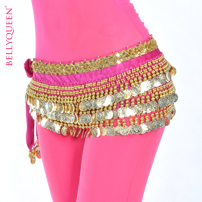 Dancewear Polyester Belly Dance Hip Scarf With Gold Coins